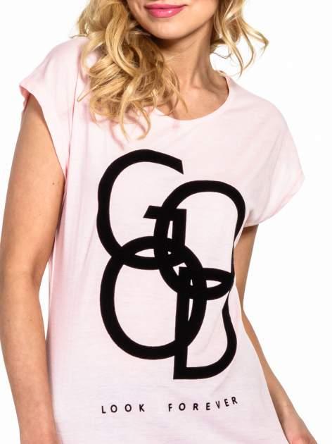 Różowy t-shirt z napisem LOOK GOOD FOREVER                                  zdj.                                  5