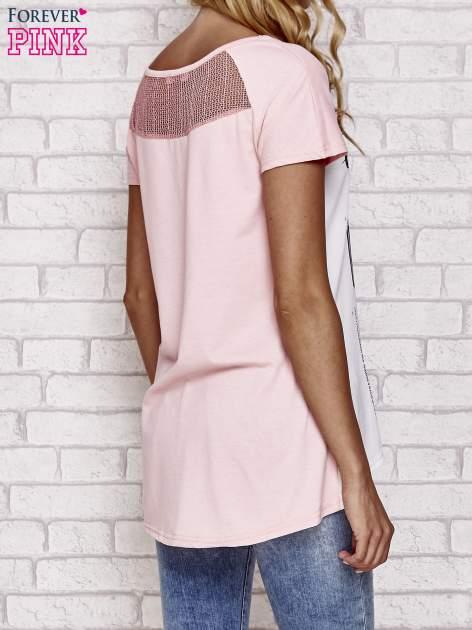 Różowy t-shirt z napisem MA PETITE COQUETTE                                   zdj.                                  4