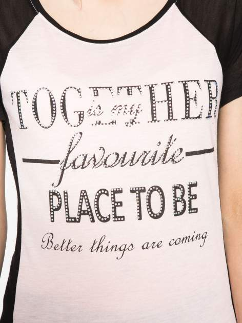 Różowy t-shirt z napisem TOGETHER IS MY FAVOURITE PLACE TO BE                                  zdj.                                  8