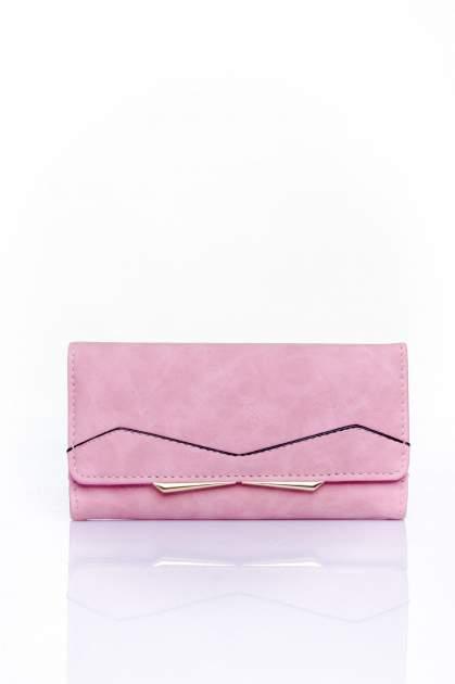 Różowy zamszowy portfel z geometrycznym motywem                                  zdj.                                  1