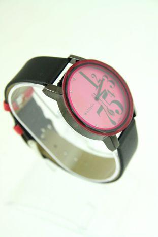 Różowy zegarek damski z cyrkoniami na pasku                                  zdj.                                  2