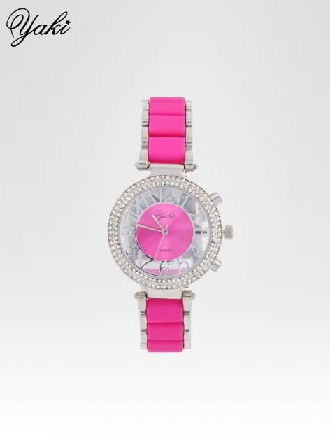 Różowy zegarek na bransolecie z cyrkoniami na tarczy                                  zdj.                                  1