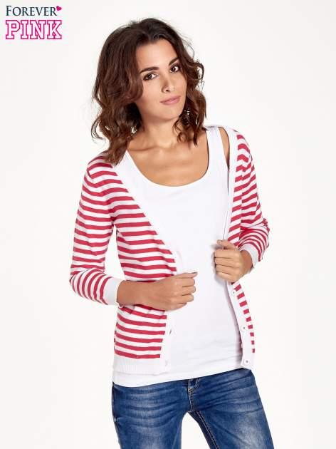 Rozpinany sweter w biało-czerwone paski z kieszonkami po bokach                                  zdj.                                  9