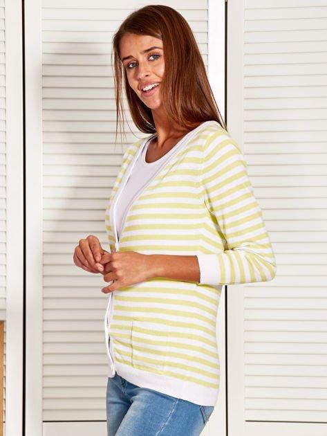 Rozpinany sweter w biało-żółte paski z kieszonkami po bokach                                  zdj.                                  3