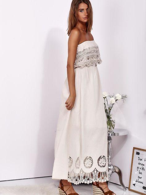SCANDEZZA Beżowa sukienka maxi bez ramion z koronkową falbaną                              zdj.                              7