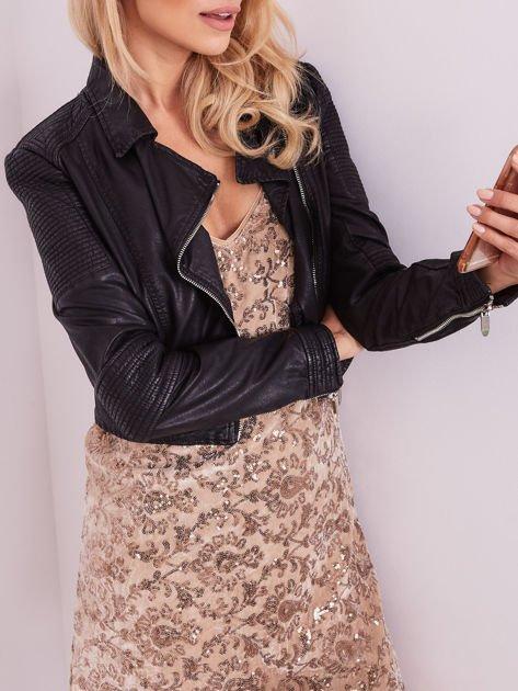 SCANDEZZA Beżowa sukienka mini                               zdj.                              9