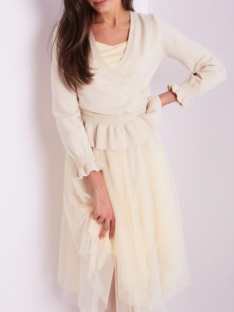 Beżowa tiulowa sukienka                              zdj.                              9