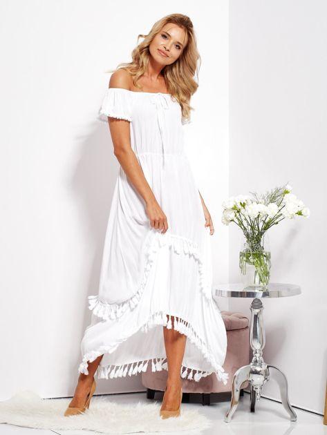 SCANDEZZA Biała asymetryczna sukienka hiszpanka z frędzlami                              zdj.                              10