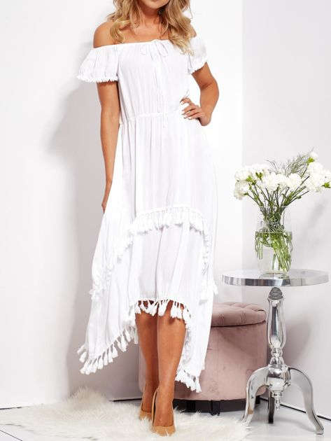 SCANDEZZA Biała asymetryczna sukienka hiszpanka z frędzlami                              zdj.                              2