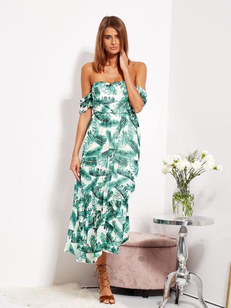 SCANDEZZA Biało-zielona sukienka maxi off shoulder w liście                              zdj.                              9
