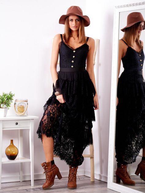 SCANDEZZA Czarna sukienka z falbanami                              zdj.                              1