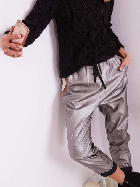 SCANDEZZA Srebrne skórzane spodnie                              zdj.                              7