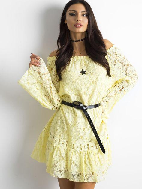 Żółta sukienka z hiszpańskim dekoltem                              zdj.                              7