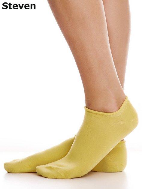 STEVEN Bawełniane żółte skarpety stopki                                  zdj.                                  4