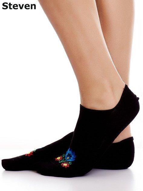 STEVEN Czarne stopki bawełniane z folkowym detalem                              zdj.                              4