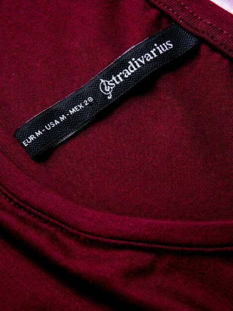 STRADIVARIUS Bordowa bluzka basic typu cropped                                  zdj.                                  3