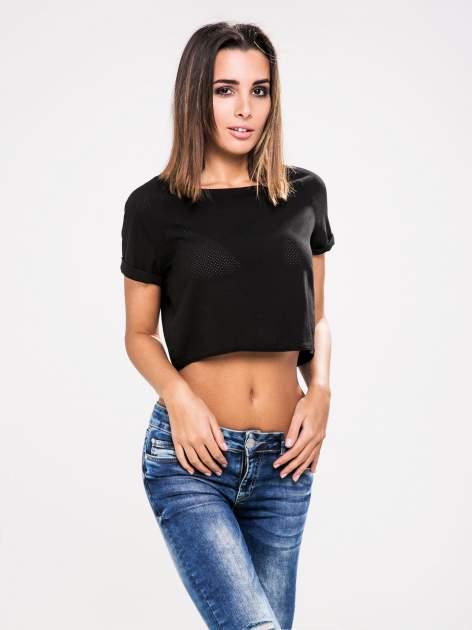 STRADIVARIUS Czarny siatkowy t-shirt typu cropped                                  zdj.                                  1