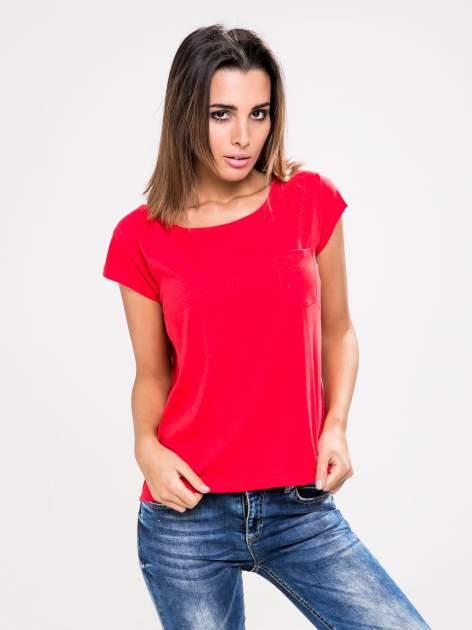 STRADIVARIUS Czerwony t-shirt basic z kieszonką                                  zdj.                                  1