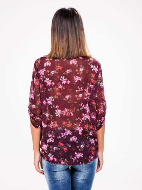 STRADIVARIUS Fioletowa koszula w kwiaty z węzłem                                  zdj.                                  2
