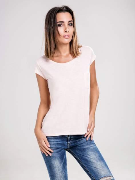 STRADIVARIUS Różowy t-shirt basic z kieszonką