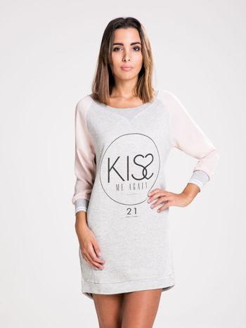 STRADIVARIUS Szara bluzosukienka z nadrukiem KISS                                  zdj.                                  1