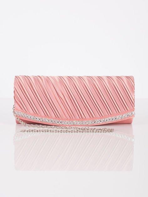 Satynowa elegancka kopertówka z dżetami różowa                              zdj.                              6