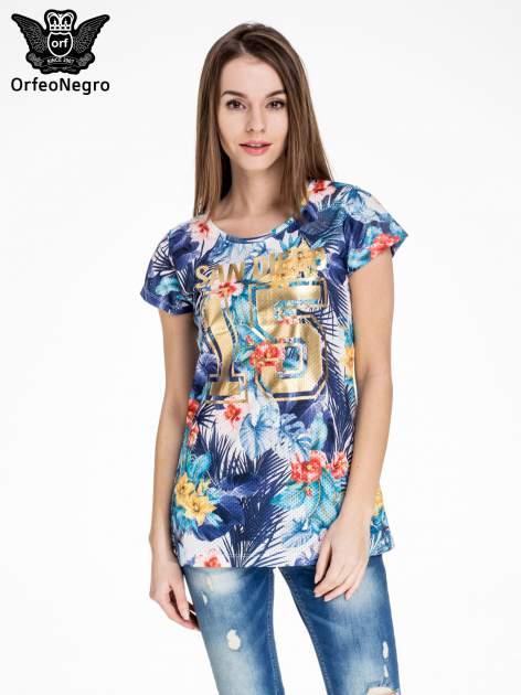 Siateczkowy t-shirt w kwiaty z nadrukiem SAN DIEGO 15                                  zdj.                                  1