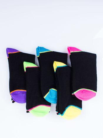 Skarpetki damskie czarne kolorowa stopa i palce mix 5 par                                  zdj.                                  12