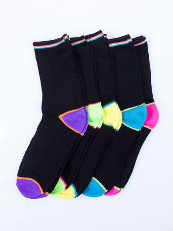 Skarpetki damskie czarne kolorowa stopa i palce mix 5 par                                  zdj.                                  1