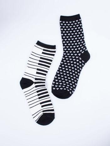 Skarpetki damskie serduszka-pianino zestaw 2 pary                                  zdj.                                  6