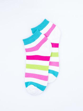 Skarpetki damskie stopki róż-biały paski zestaw 2 pary                                  zdj.                                  5