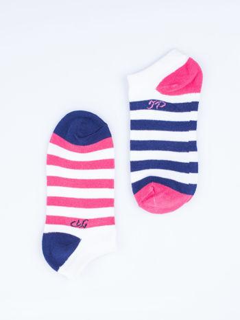Skarpetki damskie stopki różowe i fioletowe paski zestaw 2 pary                                  zdj.                                  6
