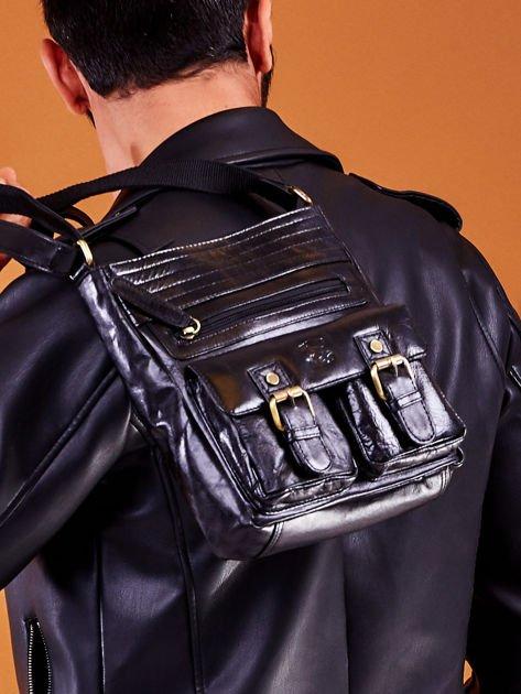 Skórzana torba męska czarna z kieszeniami                              zdj.                              4