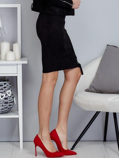Spódnica czarna z imitacji zamszu ze sznurowaniem                                   zdj.                                  5