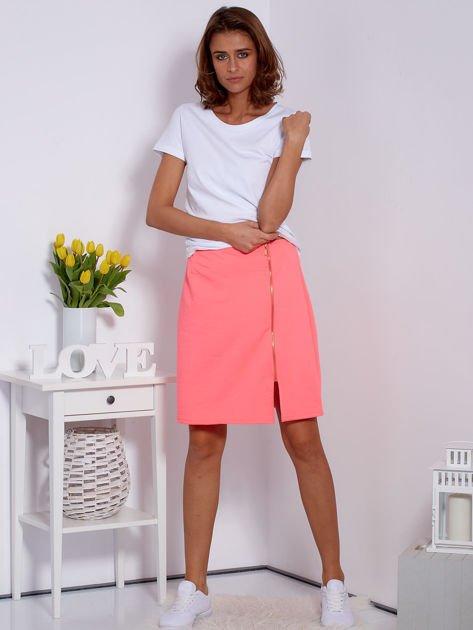 Spódnica dresowa fluo różowa z suwakiem                              zdj.                              4