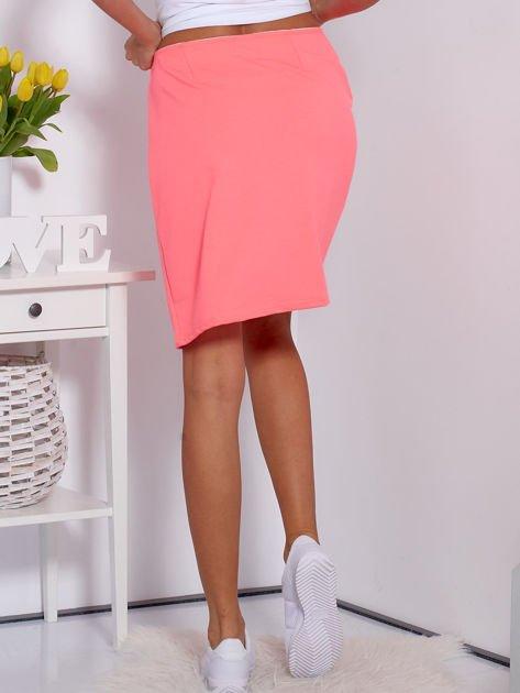 Spódnica dresowa fluo różowa z suwakiem                              zdj.                              2