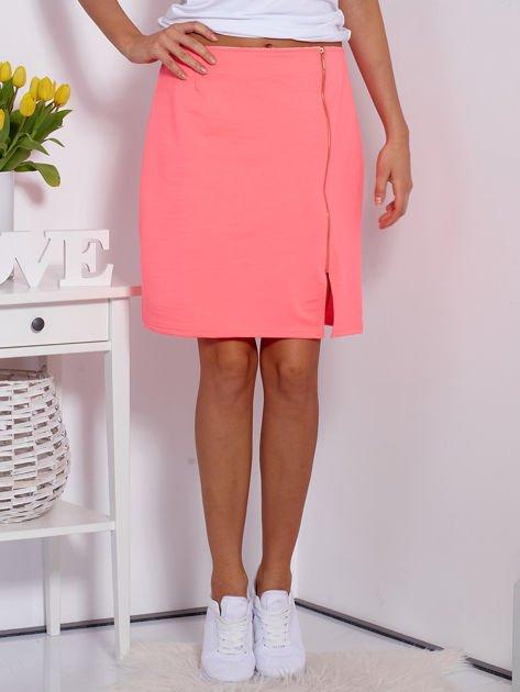 Spódnica dresowa fluo różowa z suwakiem                              zdj.                              1