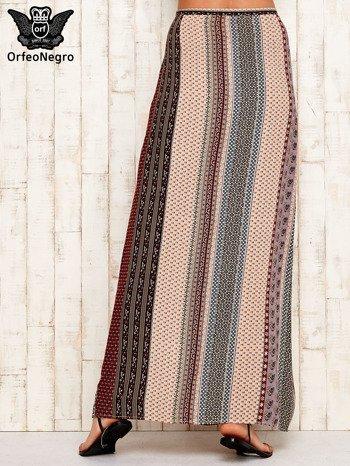 Spódnica maxi w etniczne wzory z rozcięciem