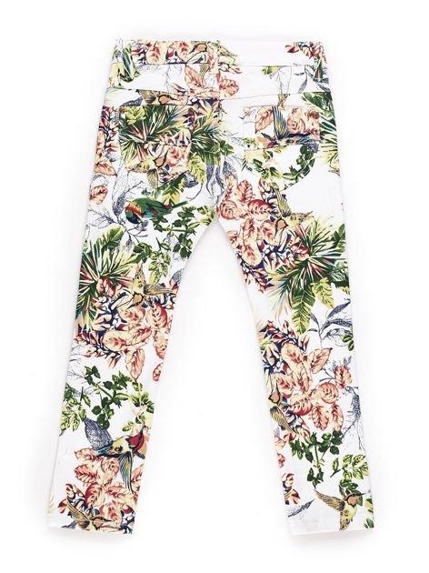 Spodnie dla dziewczynki z egzotycznym nadrukiem biało-zielone