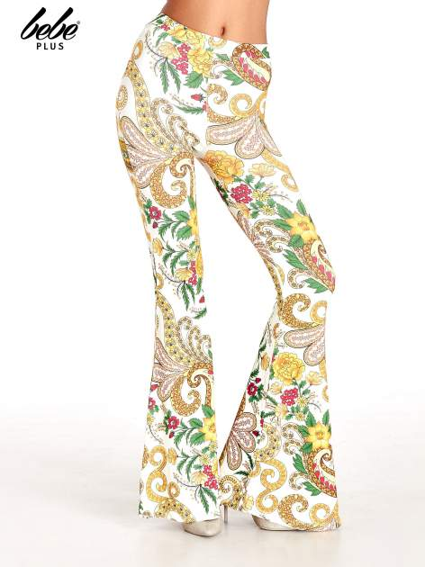 Spodnie dzwony we wzór kwiatowy                                  zdj.                                  1