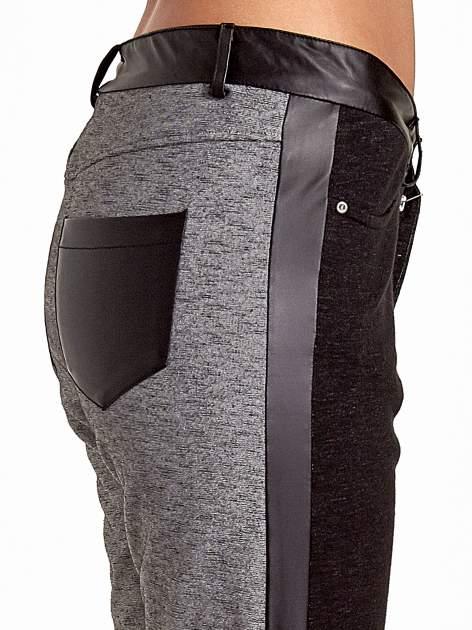 Spodnie two tone ze skórzanymi wstawkami                                  zdj.                                  6