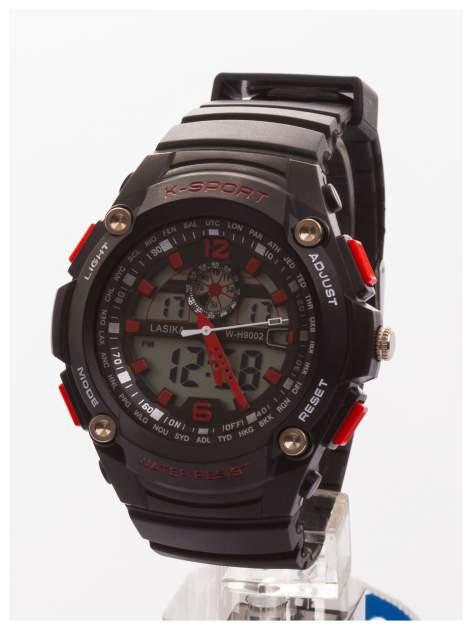 Sportowy męski zegarek wielofunkcyjny. Dwa czasy. Podwójny mechanizm - elektroniczny + analogowy. Wodoodporny