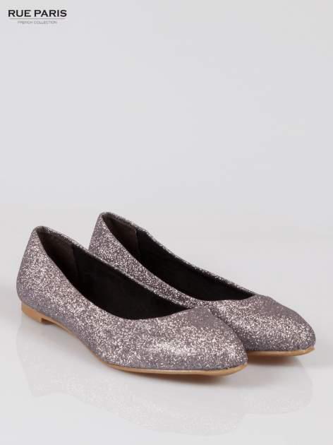 Srebrne baleriny glitter Starlit ze smukłym noskiem                                  zdj.                                  2