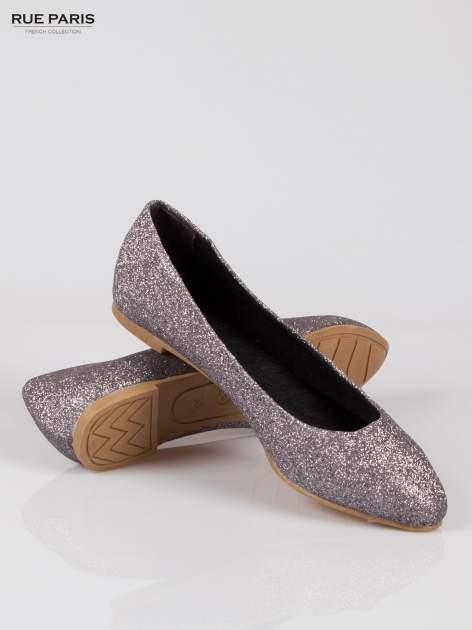 Srebrne baleriny glitter Starlit ze smukłym noskiem                                  zdj.                                  4