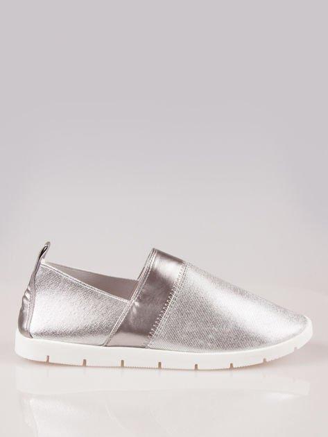 Srebrne buty slippers Dakota na traktorowej podeszwie                                  zdj.                                  1