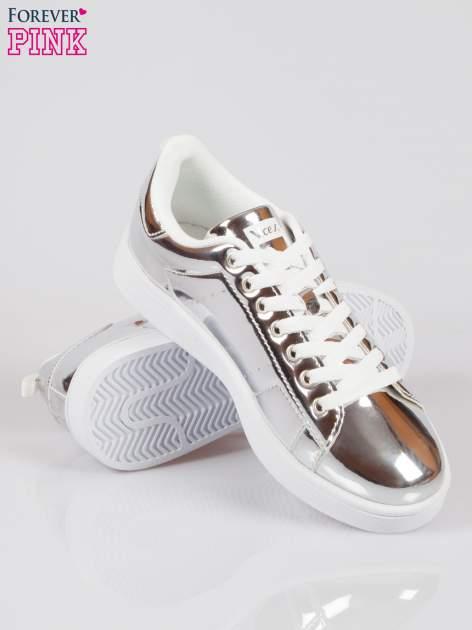 Srebrne buty sportowe faux leather Picture na grubej podeszwie                                  zdj.                                  4
