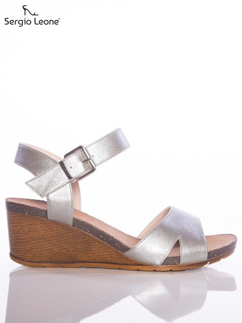 Srebrne sandały Sergio Leone na koturnach                              zdj.                              1