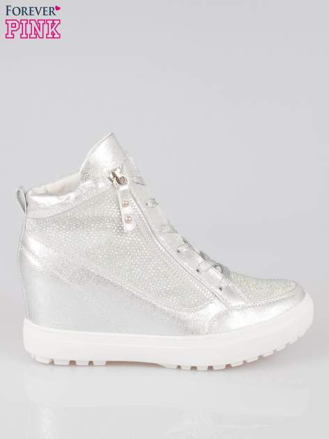 Srebrne sneakersy damskie z kryształkami