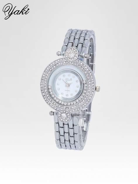 Srebrny biżuteryjny zegarek damski z cyrkoniową kopertą                                  zdj.                                  2
