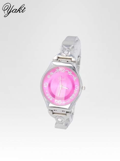 Srebrny biżuteryjny zegarek damski z różową tarczą                                  zdj.                                  2